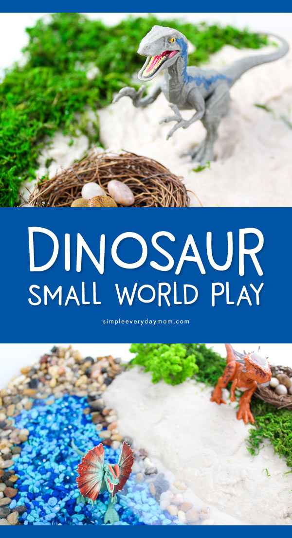 Dinosaur Play Sensory Bin | Children will love this fun dino play idea that gives them their own small world in a bin. #smallworld #sensoryplay #dinosaurs #kidsactivities #ideasforkids #kidsandparenting #preschool #children