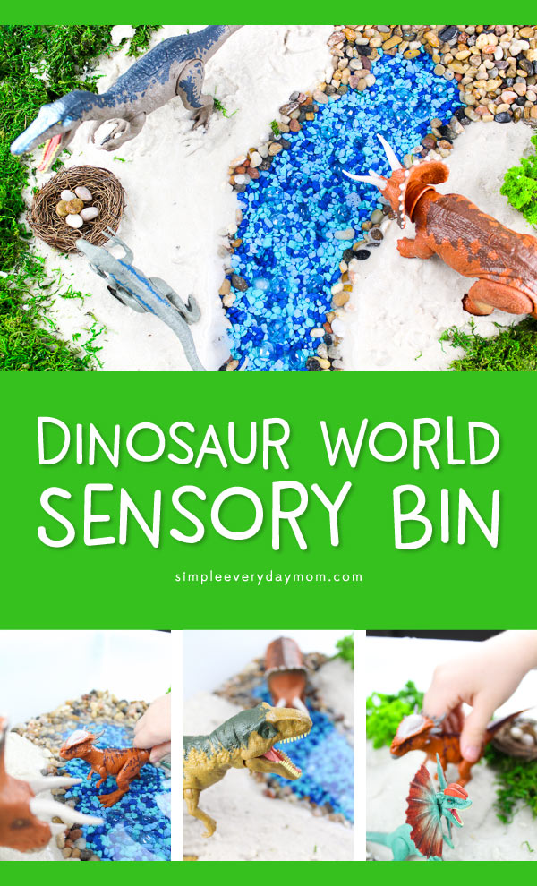 Dinosaur Sensory Bin | Toddlers, preschoolers and older children alike will have a blast playing with this dino small world bin. It's a great hands on activity to get kids to think creatively and off the screen time! 