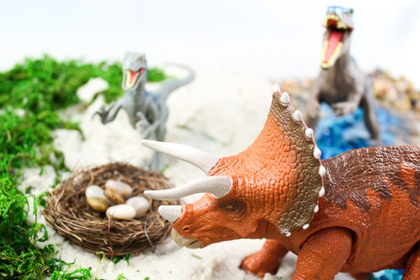 Dinosaur activity for kids | Let children use their imagination when they play with this dinosaur small world sensory bin!