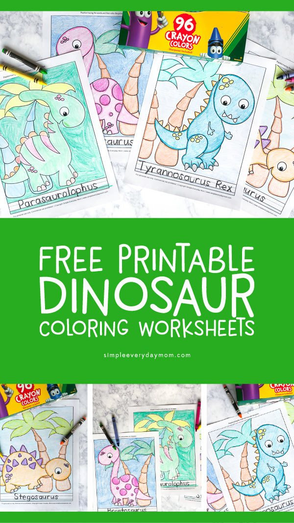 Free Printable Dinosaur Coloring Page Worksheets | These dinosaur picture coloring sheets are perfect for kindergarten and preschoolers learning all about dinosaurs. #dinosaurs #preschool #kindergarten #earlychildhood #kidsactivities #coloringpages