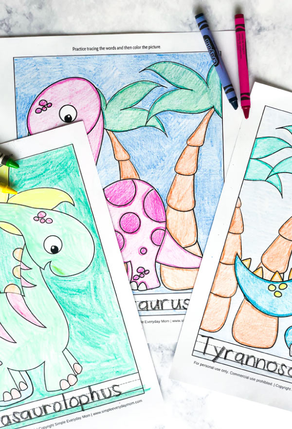 Dinosaur Coloring Page Worksheets For Kids | Teach kids the names of their favorite dinos and practice handwriting skills with these fun worksheets. #finemotor #worksheets #kids #kidsandparenting #homeschool