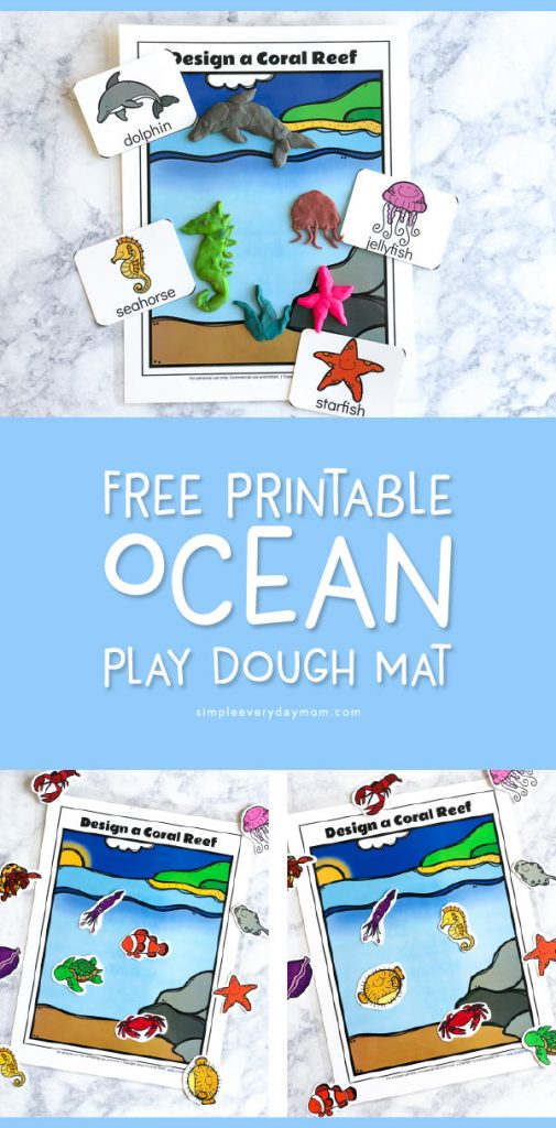 Free Printable Ocean Play Dough Mat | Let your toddlers and preschoolers create their own fun ocean scene with this fun hands on activity. #preschool #toddlers #summeractivities #sensoryplay #ideasforkids