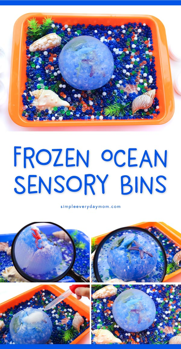 Ocean Sensory Tub | Preschool, Kindergarten and elementary aged kids will love this frozen ocean sensory activity. It's a great hands on idea that'll encourage fine motor skills, problem solving and curiosity! #sensorytub #waterbeads #sensoryboxes #smallworldplay #playbasedlearning
