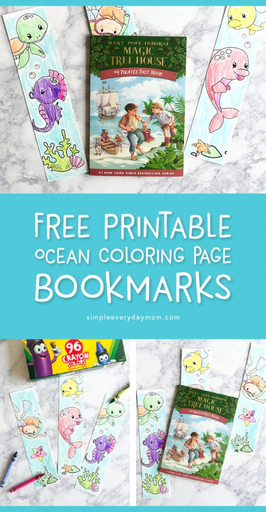 Free Printable Bookmarks For Kids | Kids love these cute ocean themed bookmarks to color. #freeprintable #kidsactivities #artforkids #preschool #kindergarten #teacher