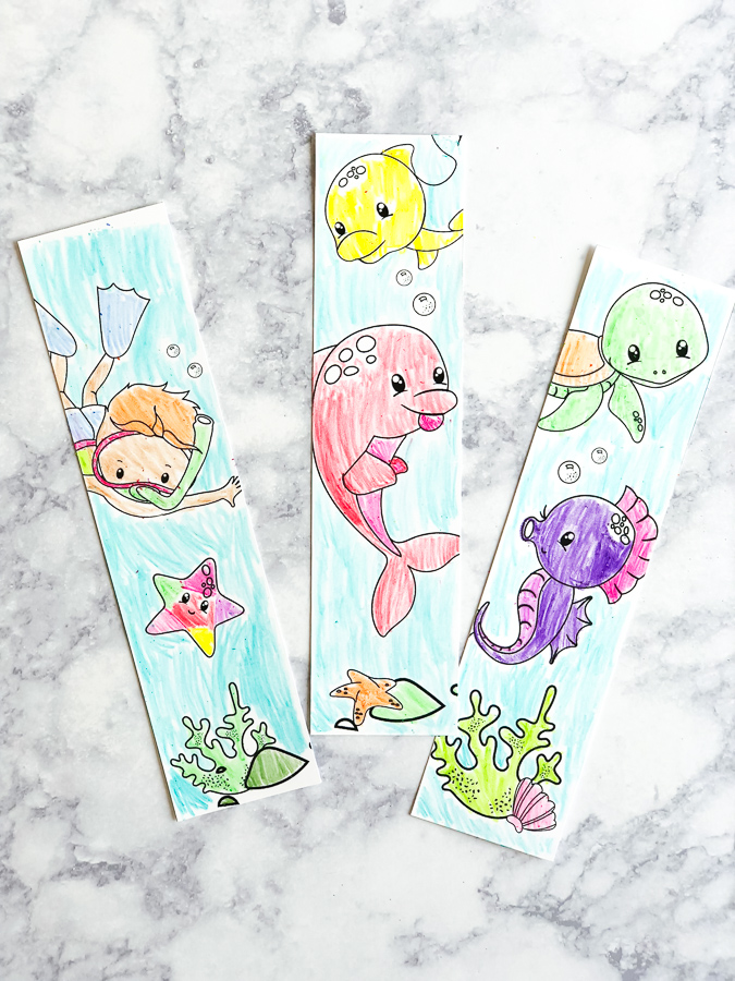 Ocean Bookmark Free Printables | Kids will love coloring in these ocean animal bookmarks! They're a great supplement when studying an under the sea unit. #teacher #earlychildhood #ocean #kidsactivities #ideasforkids #kidsandparenting