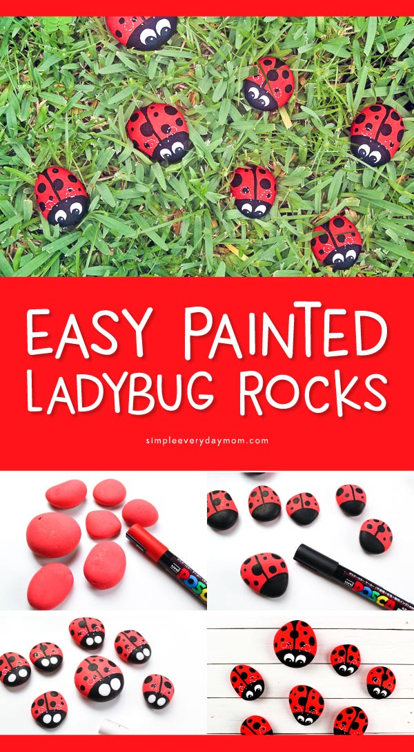 Ladybug Rocks For Kids | Create these easy DIY ladybug stones and get your kids creativity flowing! #kidscrafts #craftsforkids #kidsactivities #kidsanadparenting #artforkids
