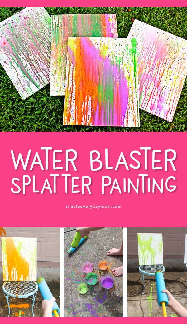 Splatter Painting For Kids | Kids of all ages will love this messy, outdoor activity! It's a perfect summer craft too. #kidsactivities #kidscrafts #craftsforkids #kidsandparenting #ideasforkids #kidsart