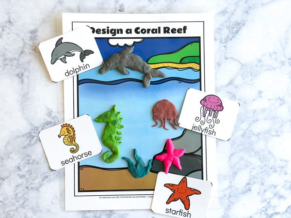 Free Printable Ocean Play Doh Mats | Kids have fun with this hands on sensory activity. #sensoryplay #ideasforkids