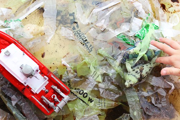 ocean pollution sensory bin for kids