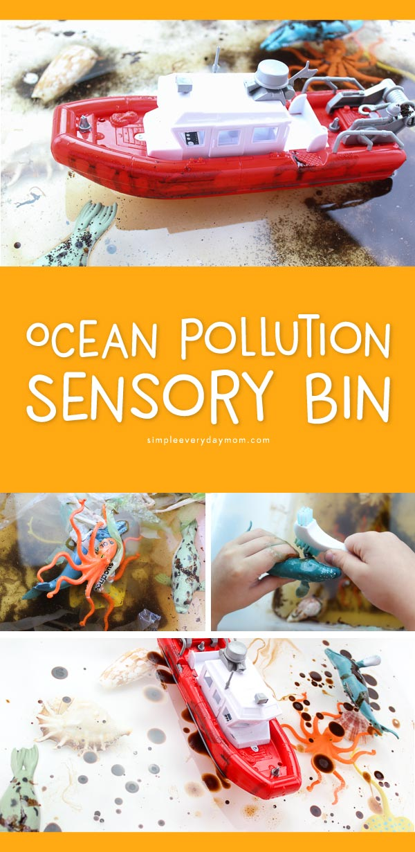 Ocean Pollution Activity For Kids | Teach preschool, kindergarten and first grade students about the effects of pollution on our world's oceans with this fun pollution sensory tub. Kids will see first hand the problems it causes and can work to fix the problem. 