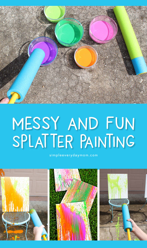 Messy Art Projects For Kids | Kids from preschool and up will love this awesome and fun splatter painting. Perfect idea for outdoor play! #kidsart #preschool #outdoorplay #childrenplay #kidsandparenting #messyplay #ideasforkids