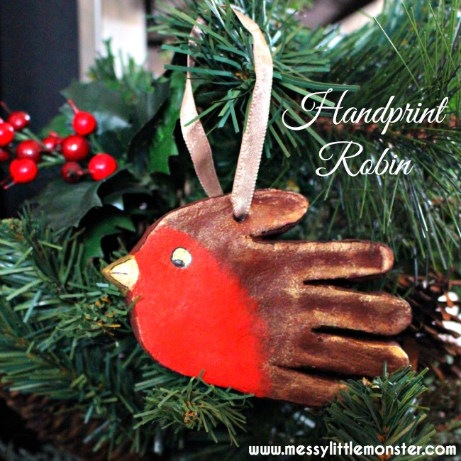 Christmas robin handprint ornament