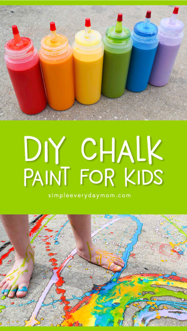 DIY Sidewalk Chalk Paint For Kids | This easy baking soda and food coloring chalk paint recipe is perfect for summer time play outside! 