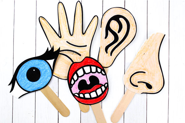 free printable 5 senses for kids puppets