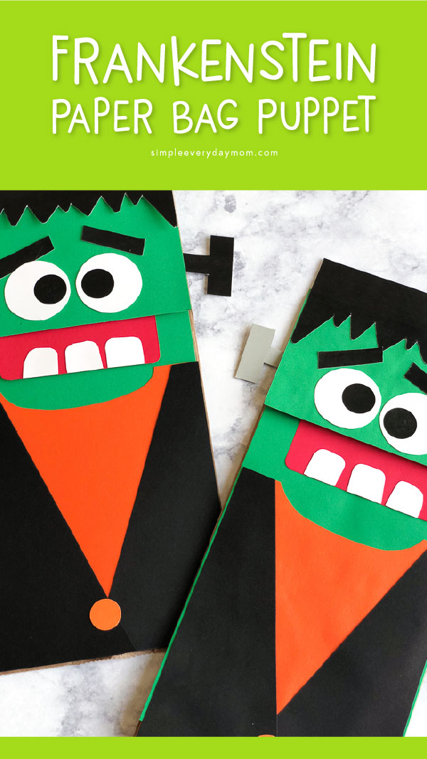 Easy Frankenstein Halloween Craft For Kids To Make | Make these simple brown paper bag puppets with this free template, colored paper, scissors and glue. These are fun for kindergarten and up and can be adapated for preschoolers as well. #preschool #kindergarten #earlychildhood #craftsforkids #kidscrafts #kidsactivities