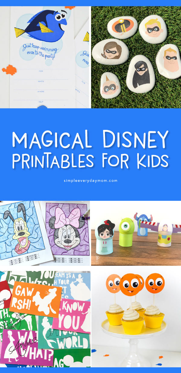Free Disney Printables | This collection of Disney printables will have your children busy and engaged in fun activites including coloring, art, crafts and more! #disney #coloring #craftsforkids #kidscrafts #disneykids #activitiesforkids #ideasforkids #boredombusters #freeprintablesforkids