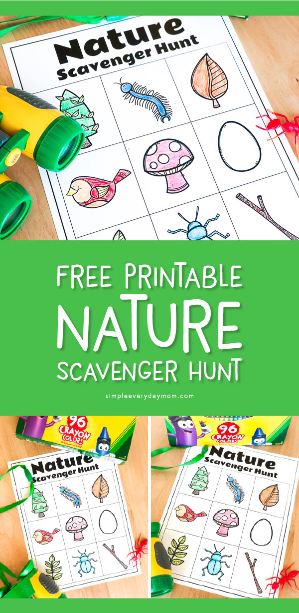 free printable nature scavenger hunt list