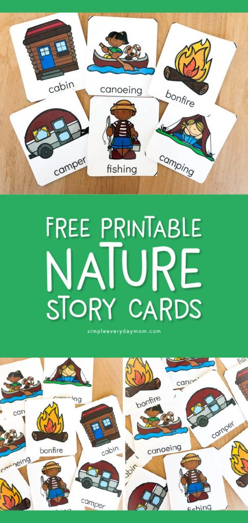 Free Printable Nature Story Cards | These camping themed flashcards for kids are a great way to have children tell a story. Work on sequencing, vocabulary, creativity and more with these cards.