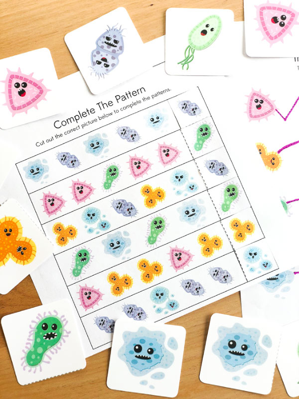 Germ Worksheets For Kindergarten | These free printable worksheets and memory game are perfect supplement to human body and personal hygiene studies. #kindergarten #teacher #homeschool #homeschooling #earlychildhood