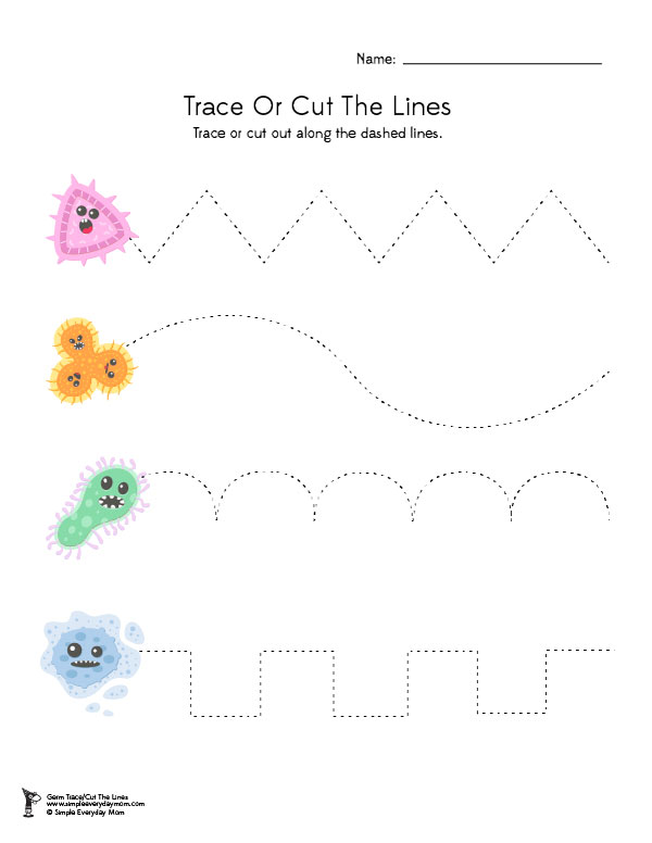 Germ Activities For Preschoolers | Have your preschool child work on fine motor skills with this free printable worksheet to practice cutting or tracing. #finemotor #preschool #teacher #kidsactivities #homeschooling