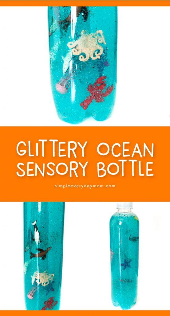 Glitter Ocean In A Bottle | Make this fun ocean sensory bottles as a calming jar, for an activity for ocean unit studies or just for fun! #sensoryplay #sensorybottle #kidsactivities #kidscrafts #craftsforkids