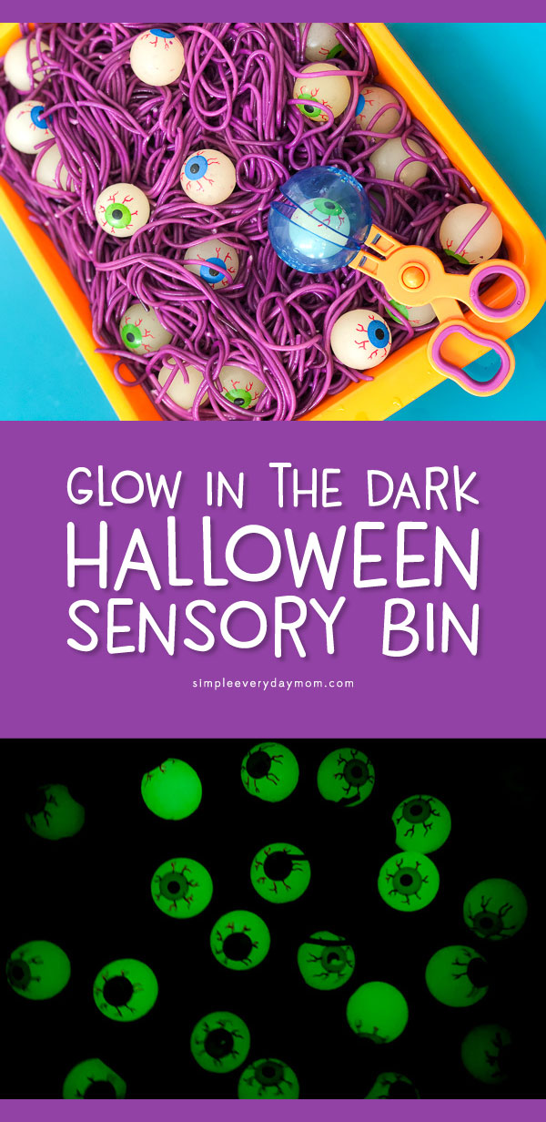 Halloween Sensory Bin For Kids | Children will have a blast playing with this colored spaghetti and eyeball sensory bin. It's perfect for toddlers, preschool and kindergarten aged kids. #halloween #sensoryplay #sensorybin #kidsactivities #ideasforkids #kidsandparenting