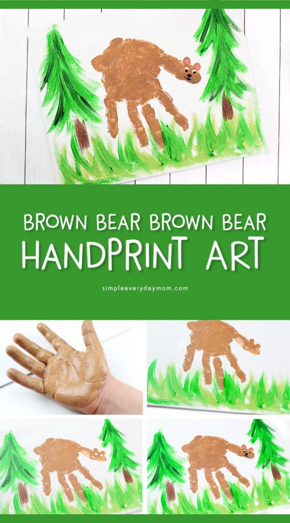 Kids Bear Handprint Craft   Make this cute bear hand print art project to go along with the Eric Carle book, Brown Bear Brown Bear What Do You See? #kidsactivities #kidscrafts #craftsforkids #kidsactivities #kidsart #kidsandparenting #ideasforkids