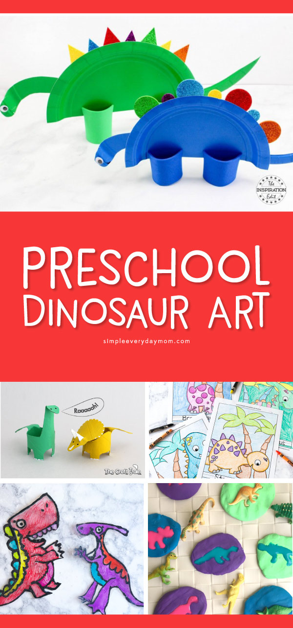 Preschool Dinosaur Art Projects | Kids will love making these fun and creative dino crafts. They're the perfect activities for home or in the classroom.  #preschool #dinosaurs #childrenplay #kidsandparenting #earlychildhood #homeschool #craftsforkids #kidscrafts #ideasforkids #sensoryplay #kidsactivities