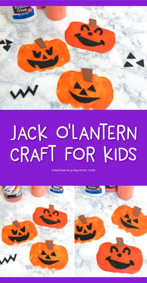 Pumpkin Craft For Kids | Learn how to make these foam and glue jack o'lanterns. You can use them as window clings for holiday decoration or just display them on the fridge. #halloween #kids #kidsactivities #craftsforkids #kidscrafts #kidsandparenting #elementary #pumpkin #earlychildhood #homeschool #artforkids #kidsart
