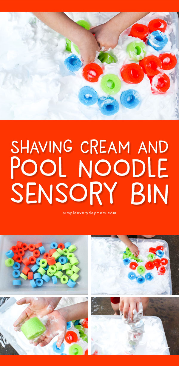 Shaving Cream & Pool Noodle Sensory Bin | Kids will have a blast with this shaving cream activity that allows for fun sensory play at home. Plus, sneak in some teaching without your kids even knowing! 