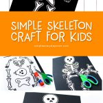 Skeleton Halloween Craft For Kids | Preschool, kindergarten and elementary aged children will love making this simple skeleton craft for Halloween this fall.