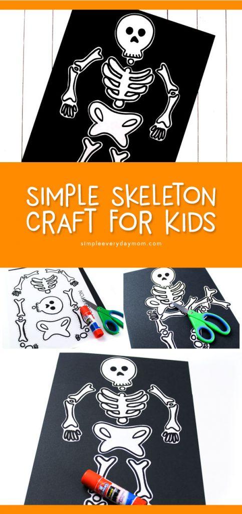Skeleton Halloween Craft For Kids | Preschool, kindergarten and elementary aged children will love making this simple skeleton craft for Halloween this fall.
