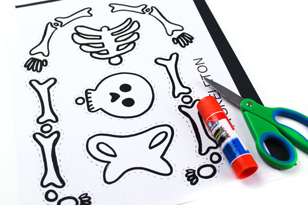 Skeleton Halloween craft for kids to make at home or at school