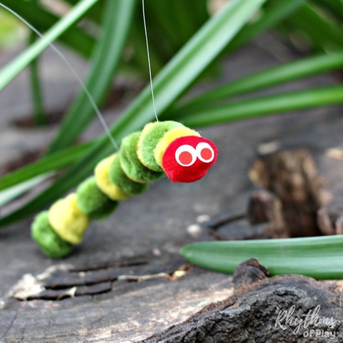 Very Hungry Caterpillar puppet for hours of fun imaginative play time! #toddler #preschool #kidscrafts #childrenplay #playtime