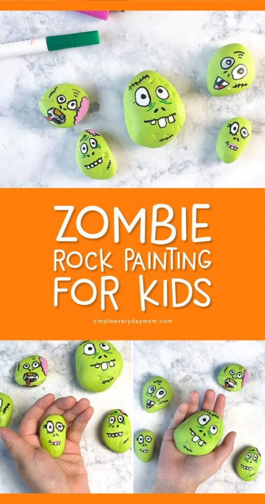 Halloween Activity For Kids | This Halloween season make these cool and creepy zombie painted rocks. It's the perfect family activity for Halloween! #kidscrafts #craftsforkids #kidsactivities #halloween #halloweenideas #rockpainting #artforkids #kidsart #rockart