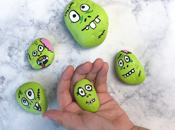 Easy Zombie Halloween Painted Rocks For Kids