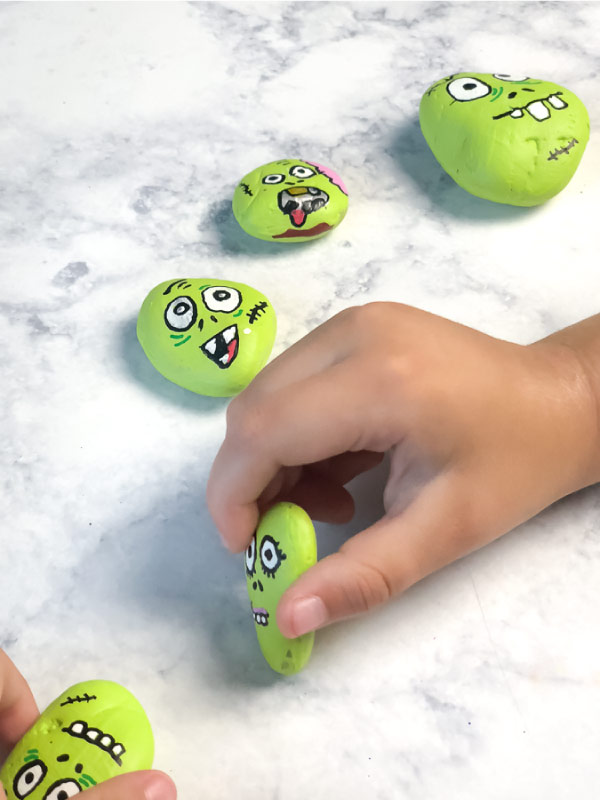Zombie Stone Paintings For Kids