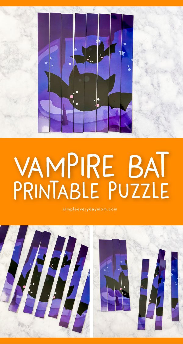 Halloween Printable Puzzle For Kindergarten | Download this cute vampire bat puzzle. It's a great activity for kindergarten kids. #kids #kindergarten #teachingkindergarten #preschool #kids #kidsandparenting