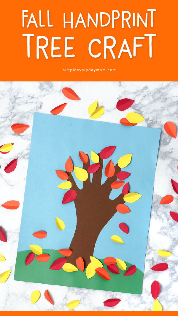 Fall Handprint Art For Kids | Make this simple autumn tree with your child's hand print and some paper. It's a perfect craft idea for mom, dad or anyone in the family! #earlychildhood #preschool #kindergarten #kidscrafts #craftsforkids #ideasforkids #teacher #activitiesforkids