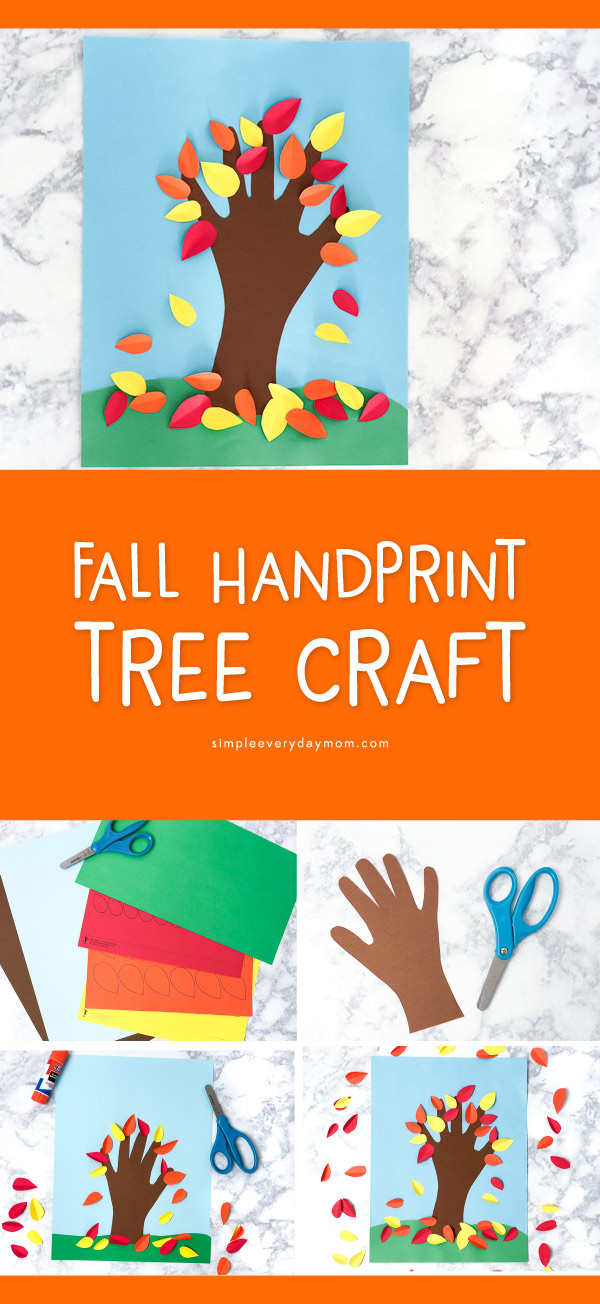 Fall Handprint Art For Kids | Make this simple autumn tree with your child's hand print and some paper. It's a perfect craft idea for mom, dad or anyone in the family!   #earlychildhood #preschool #kindergarten #kidscrafts #craftsforkids #ideasforkids #teacher #activitiesforkids #homeschool #artforkids #kidsart #elementary #thanksgivingcrafts #fallcrafts