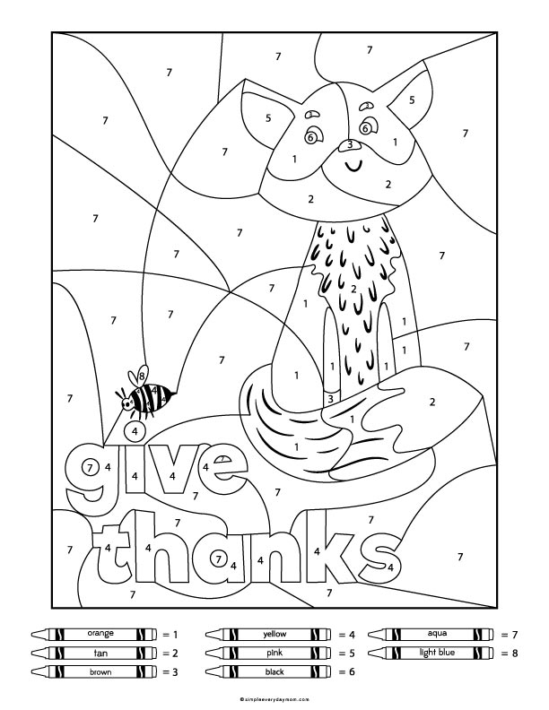 Gratitude Fox Color By Number Printable For Kids #gratitude #coloringpage #colorbynumber