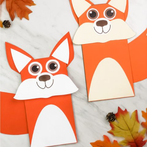 kraft bag fox puppet