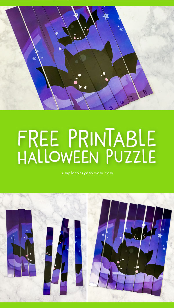 Free Printable Halloween Activity For Kindergarten | Download this free bat Halloween puzzle and work on sequencing, focus, concentration and more!   #teachingkindergarten #kindergarten #preschool #earlychildhood #learningactivities #educationalactivities #ideasforkids #halloween #kids #kidsandparenting #freeprintables