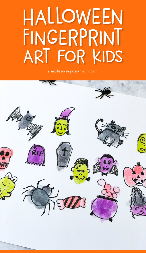 Halloween Fingerprint Art For Kids | This October make these fun and easy Halloween fingerprint characters. #halloween #halloweencrafts #fingerprintart #kidsactivities #kidscrafts #craftsforkids #earlychildhood