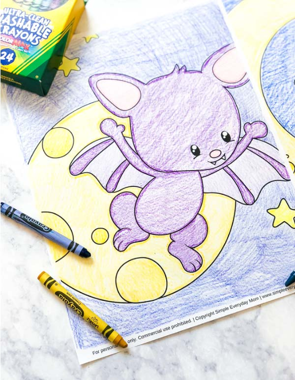 Cute Bat Halloween Coloring Pages | Download these free printable bat coloring pages for non-creepy halloween fun! #coloringpages #preschool #toddler #kids