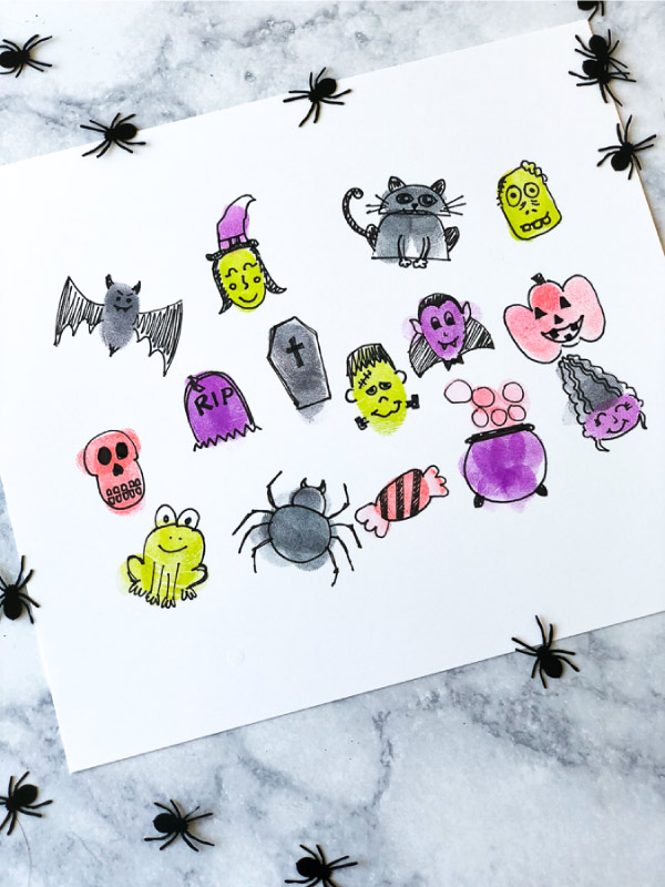 Halloween Fingerprint Art For Kids #kidsactivities #halloweencrafts #artforkids #boredombusters #invitationtoplay #creativekids #childrenplay