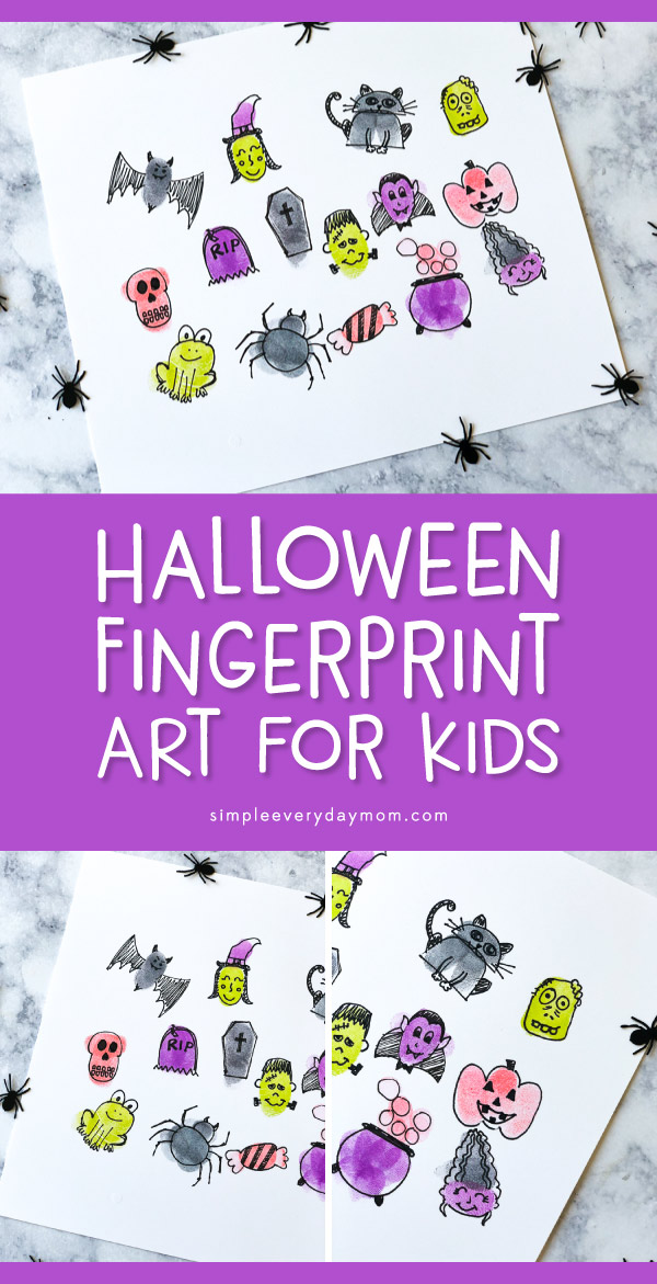 Easy Halloween Fingerprint Art Project For Kids | Make these simple Halloween characters with some ink pads, a pen and a little imagination. Children and families love making this awesome fingerprint art!