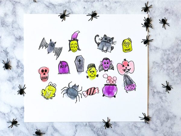 halloween fingerprint art for kids