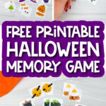 Halloween memory game image collage with the words free printable Halloween memory game
