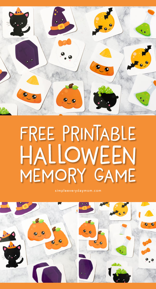 Free Printable Halloween Memory Game | This Halloween themed matching game is perfect for preschoolers and kindergarten aged kids. It's a great supplement for Halloween lesson plans.   #kids #earlychildhood #preschool #kindegarten #teachingkindergarten #halloween #halloweenactivities #kidsactivities #homeschool #kidsandparenting